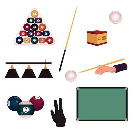 Set of flat style pool, billiard, snooker objects - table, cue, balls, triangle rack, glove, chalk, light, vector illustration isolated on white background. Vector set of pool, billiard game objects Illustration