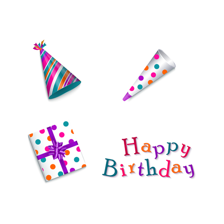 vector cartoon birthday party celebration symbols set. Colored party hats, present gift box with purple ribbon and bow, happy birthday inscription. Isolated illustration on a white background.