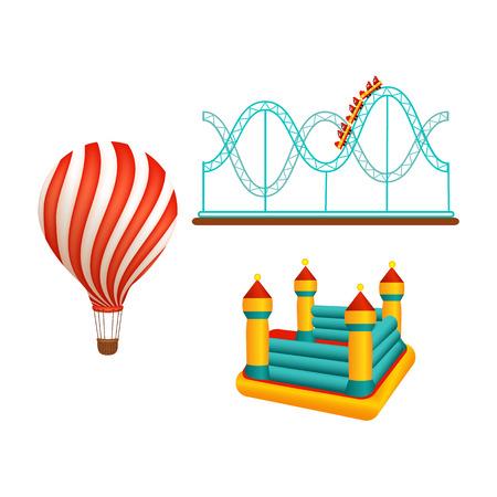 Vektor flache Vergnügungspark Objekte Icon-Set. Kinder aufblasbarer Gummispielplatz, Hüpfburgtrampolin, Achterbahn und Heißluftballon. Lokalisierte Illustration auf einem weißen Hintergrund. Standard-Bild - 88835802