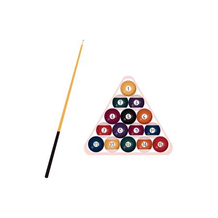 vector vlakke stijl houten keu met zwart handvat en ballen met nummers piramide in houten rack driehoek. Geïsoleerde illustratie op een witte achtergrond. Professionele snooker, poolbiljartuitrusting