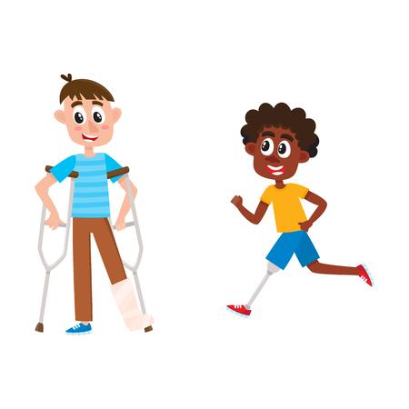 벡터 평면 장애인 설정합니다. 석고와 다리 prosthesis와 함께 실행하는 흑인에서 부러진 된 다리와 목 발에 서있는 만화 소년. 흰색 배경에 고립 된 그림 일러스트