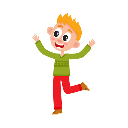 Cute happy teenage boy raising hands up in joy and delight, rejoicing, celebrating, cartoon vector illustration isolated on white background. Full length portrait of happy little kid, boy, child