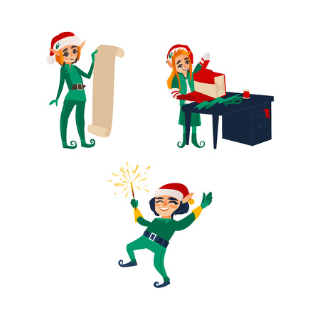 Three Christmas elves, Santa little helpers - holding present list, wrapping a gift, lighting a sparkler, flat cartoon vector illustration isolated on white background. Christmas elves, Santa helpers Illustration