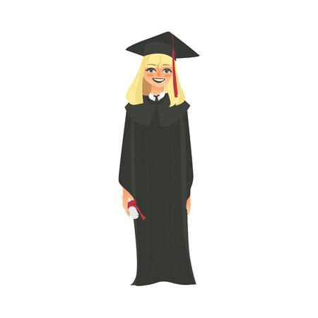 ベクトル フラット漫画女子短大, 大学幸せな大学院文字, 卒業ガウン、キャップ ディプロマ笑顔を保持しているブロンドの女の子。白い背景に分離の図。 写真素材 - 88775352