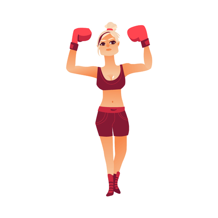 vector cartoon stylized brutal muscular strong beautiful woman, girl in boxing stand with red box gloves smiling raising hands up like winner. Isolated illustration on a white background. Illustration