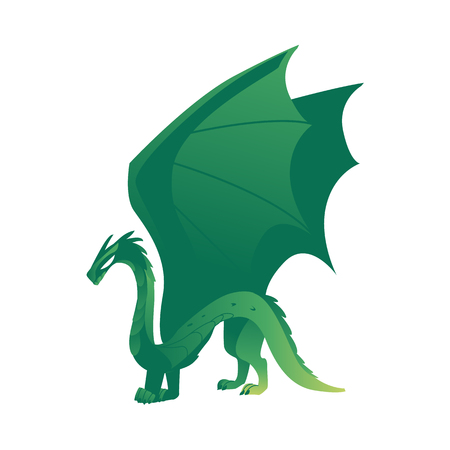 vector flat cartoon colored green majestic mythical dragon with horns and wings. Legendary mystery animal creature. Isolated illustration on a white background.