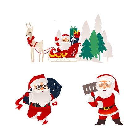 vector flat cartoon santa claus in christmas clothing riding reindeer flying sleigh smiling, holding poster placard, carrying presents bag set. Holiday illustration isolated on a white background.
