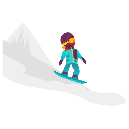 vector cartoon stylized teen girl kid having fun riding snowboard in winter outdoor clothing and protection goggles. Isolated illustration on a white background with mountain silhouette. Illustration