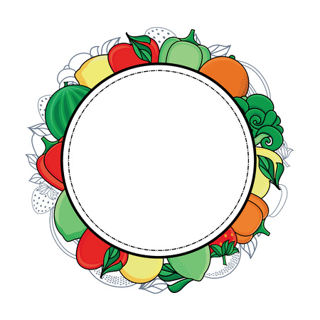 vector flat sketch style fresh ripe fruits, vegetables circle template, frame. Apple, lime bellpepper apple, watermelon pear, orange strawberry banana, broccoli. Isolated illustration white background