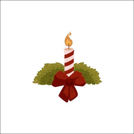 Vela ardiente con el arco de la cinta roja y ramas de árbol de abeto, icono de la Navidad, decoración, ilustración vectorial de dibujos animados sobre fondo blanco. Vela roja y blanca de Navidad decorada con lazo de cinta roja Foto de archivo - 88775361