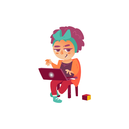 vector flat teen hipster girl sitting at chair surfing the net, playing games, watching videos using laptop. Isolated illustration on a white background. Teenagers and modern digital visual technology
