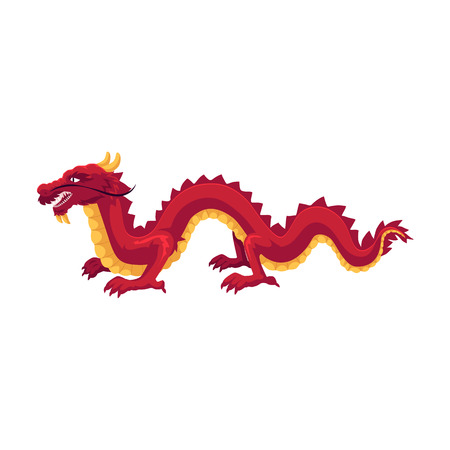 Chinese, Japanese red dragon standing on four paws, cartoon vector illustration isolated on white background. Traditional Japanese, Chinese, Asian red dragon