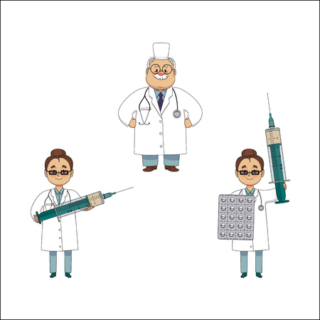vector flat cartoon adult male, female doctor, physician in white medical clothing keeping huge big syringe and pills blister, man with stethoscope set. Isolated illustration on a white background.