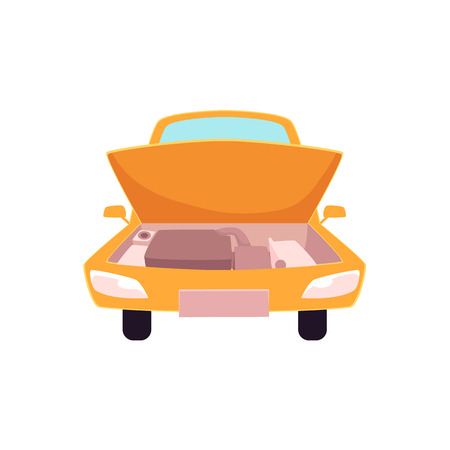 vector flat cartoon funny stilyzed yellow colored sedan car with open hood front view. Isolated illustration on a white background. Road motor vehicle transport.