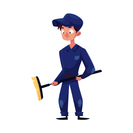 vector flat cartoon funny young man, boy mechanic in blue uniform holding big broom in hands smiling. Male full lenght portrait caucasian character isolated, illustration on a white background.