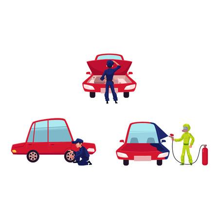 Auto-monteur controleren motor, schilderij auto en veranderende band, cartoon vectorillustratie geïsoleerd op een witte achtergrond. Automonteur, technicus die motor van een auto controleert, schildert, veranderende band Stock Illustratie