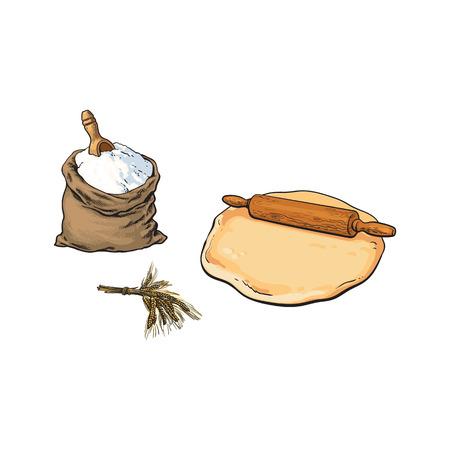 Houten deegrol, deeg en volledige jutezak bloem, schets stijl vectorillustratie geïsoleerd op een witte achtergrond. Hand getrokken houten deegrol, deeg, bloem jute zak, schop en korenaar