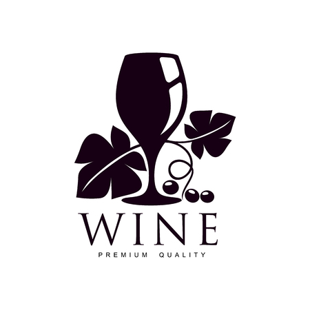 Glass of wine decorated with grapevine with leaves, ripe grapes and twig. Elegant Company logo, brand icon design. Isolated illustration on a white background.