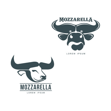 Buffalo mozzarella italian cheese brand, logo design icon pictrogram silhouette. Horned bull head side, front view set. illustration with mozzarela inscription. Isolated flat on a white background. Иллюстрация