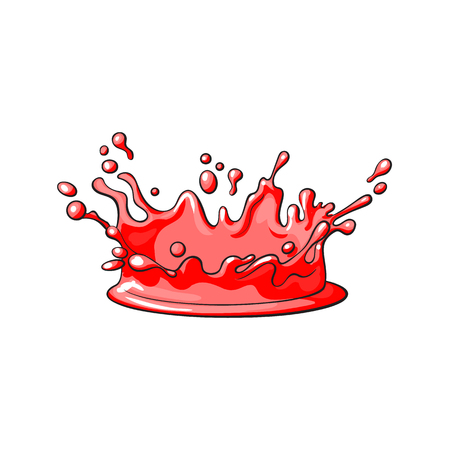 vector red juice drop, blot cartoon. Isolated illustration on a white background. Sweet splashes, smudges element Illustration