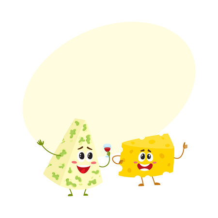 two Funny cheese chunk character showing thumb up, good quality concept, cartoon vector illustration with space for text. Funny cheese piece character, mascot with human face giving thumb up Illustration