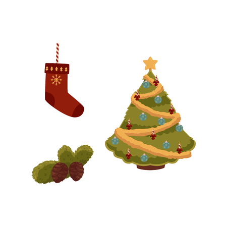 vector flat christmas holiday new year festive symbols set. Decorated spruce tree with balls, garlands and star, fir branch with pine cone, stocking. Isolated illustration on white background