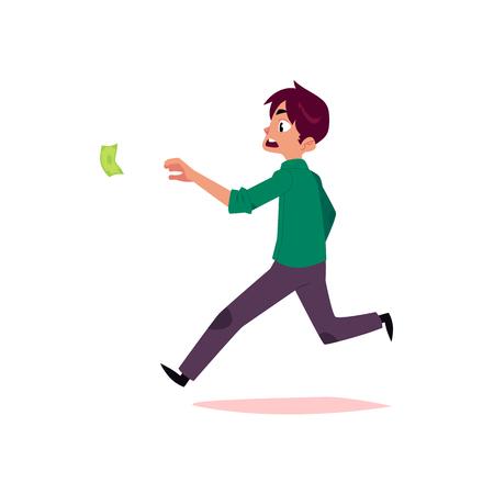 vector platte cartoon man die voor geld. Mannelijke bediende, kantoormedewerker in casual kleding jagen, proberen te vangen voor dollar notitie. Geïsoleerde illustratie op een witte achtergrond.