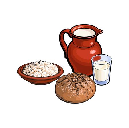 牛乳とセラミック ピッチャー水差し壷、ポット、暗いパンセット ローフのカッテージ チーズのベクター スケッチ ガラス。白い背景に分離の図。健