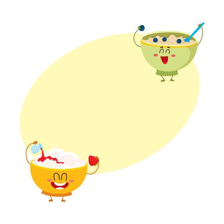 두 재미있는 보 울 문자 - 코 티 지 치즈와 오트밀 죽, 아침 식사 옵션, 텍스트위한 공간 만화 벡터 일러스트 레이 션. 귀엽고 재미있는 코티지 치즈와