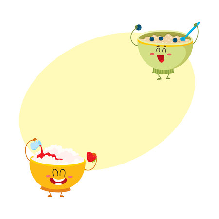Two funny bowl characters - cottage cheese and oatmeal porridge, breakfast options, cartoon vector illustration with space for text. Cute and funny cottage cheese and oatmeal bowl characters Иллюстрация