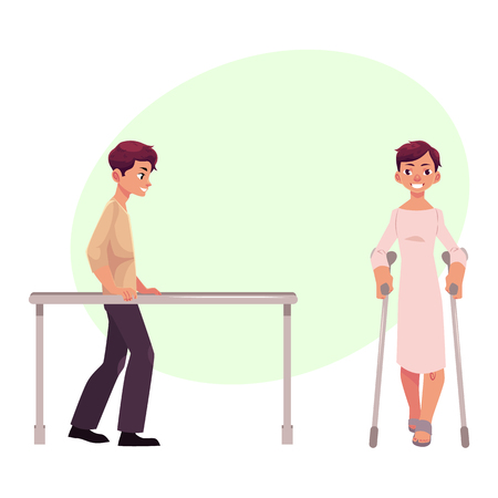 Medical rehabilitation, physical therapy, parallel bars, cartoon vector illustration with space for text. Medical rehabilitation, physical therapy, parallel bars