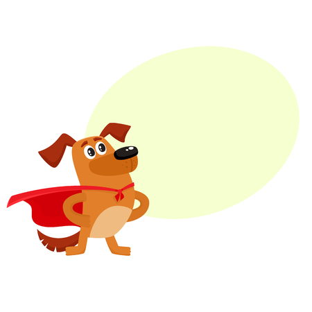 Cute brown funny dog, puppy character in red cape standing as hero, superhero, cartoon vector illustration isolated on white background with speech bubble Ilustração