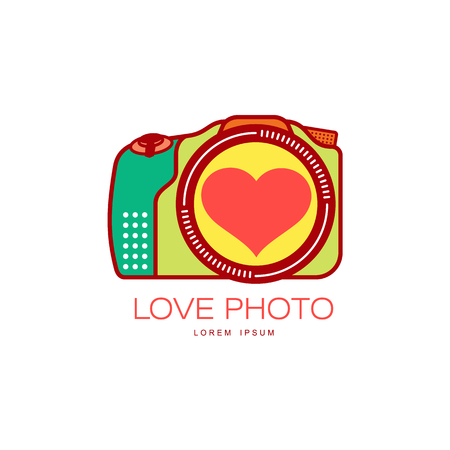 Vector love photo camera colored icon pictogram with heart in lens. Flat cartoon isolated illustration on a white background. Logo brand concept for photo studio design