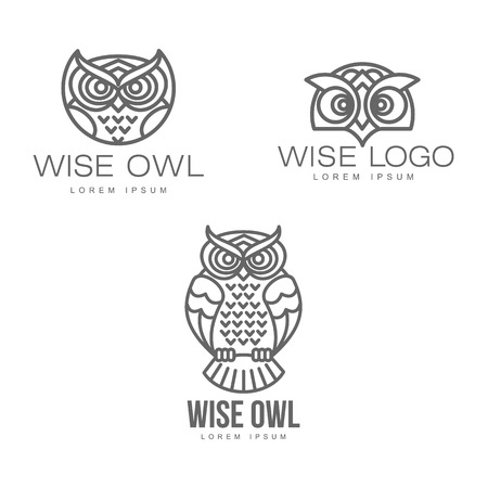 wise hand drawn sitting wise owl, owl head closeup set. brand logo stylized design silhouette pictogram. Line icon bird isolated illustration on a white background. Stock Illustration - 88892770