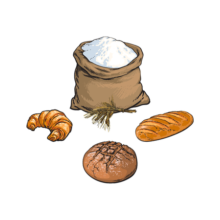 vector sketch cartoon flour or sugar burlap bag or sack, croissant ,baguette bread loaf.
