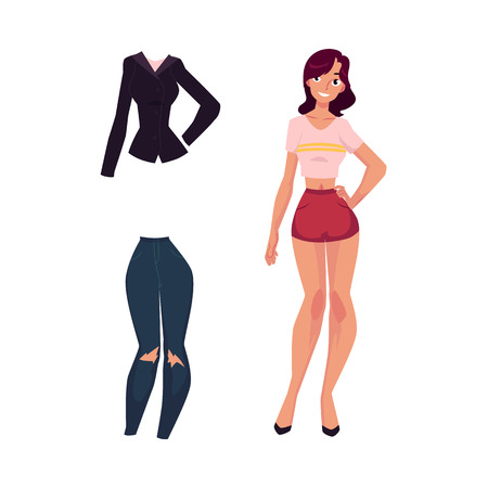 Pretty young woman, girl in lingerie, casual jacket and ripped skinny jeans, fashion set, cartoon vector illustration isolated on white background.