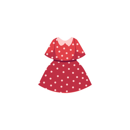 vector flat cartoon child baby girl kid red dotted dress. Fashionable trendy style summer, female casual fancy festive clothing.