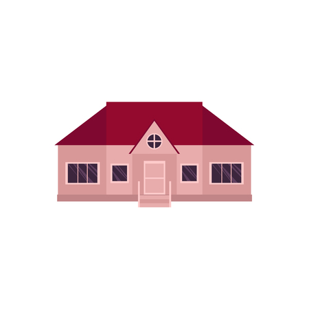 Single cartoon style icon of one-storey house, home, vector illustration on white background.