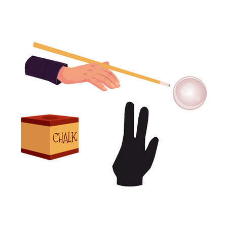 vector flat cartoon style hand with cue stick in pose ready to make shot to a ball, special billiard pool glove, chalk block and cue ball. Illusztráció