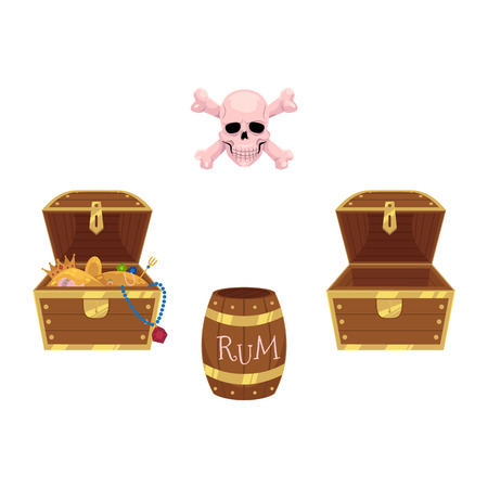 Pirate set - full and empty treasure chests, skull and rum barrel, flat style cartoon vector illustration isolated on white background. Illustration
