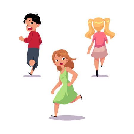 Frightened kids, boy and two girl running away in fear and panic, cartoon vector illustration isolated on white background.