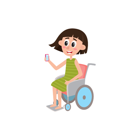 Young pretty woman sitting in wheelchair, holding phone, smartphone, cartoon vector illustration isolated on white background.
