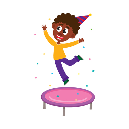 Happy black, African American boy jumping on trampoline, having fun at birthday party.