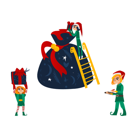 vector flat cartoon hand drawn christmas elf boy in Santa hat folding golden bow present boxes in big bag. Illustration
