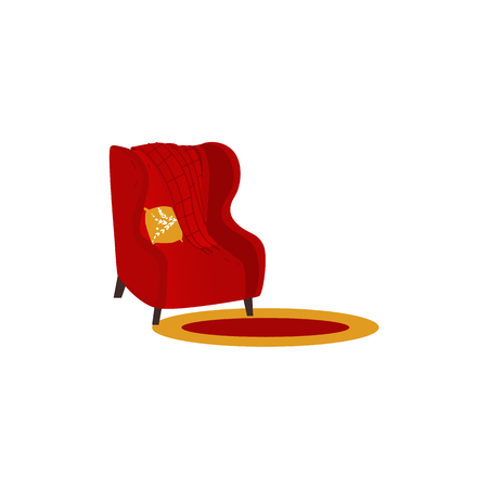 vector cartoon stylized red comfortable armchair with warm woolen blanket or rug and orange pillow.