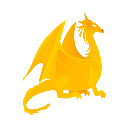 vector flat cartoon colored yellow majestic mythical dragon with horns and wings.