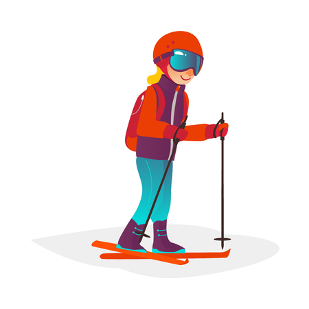 vector cartoon stylized teen boy kid having fun skiing in winter outdoor clothing, protective goggles and backpack. Illustration