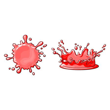 벡터 빨간색 주스 드롭, 만화 세트 오 점. 흰색 배경에 고립 된 그림입니다. 달콤한 채찍, 요소 얼룩