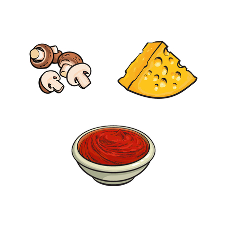 Pizza, pasta cooking ingredients – button mushrooms, cheese and tomato sauce, sketch style vector illustration isolated on white background. Hand drawn cheese, ketchup and champignons, Italian cuisine