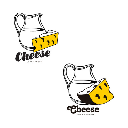 Swiss, holland maasdam yellow piece of porous cheese with holes and milk jug brand, logo product design icon pictrogram silhouette set. Isolated flat illustration on a white background.
